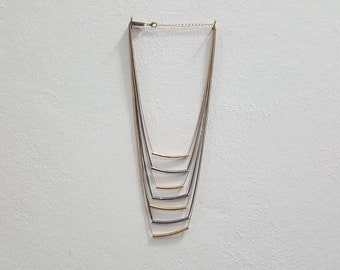Gold and silver colour cylinder tubes necklace for women fashion jewels