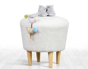 Faux fur pouf ottoman white colour round pouf detachable legs home decor  ottoman pouf 8db42f46c370a