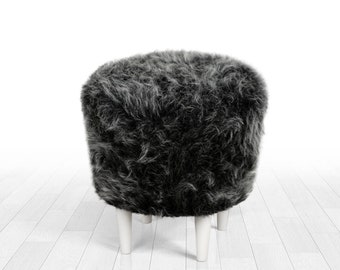 Faux fur pouf ottoman gray colour round pouf detachable legs home decor  ottoman pouf nordic decor longer fur f6f0d74ccd940