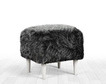 Faux fur pouf ottoman gray colour square pouf detachable legs home decor  ottoman pouf nordic decor longer fur d28b2d192e9fa