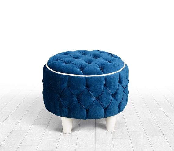 Awe Inspiring Tufted Pouf Round Shape Detachable Legs Oil Green Colour Elegant Style Handmade Ottoman Pouf Bralicious Painted Fabric Chair Ideas Braliciousco