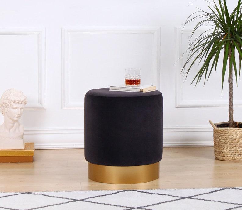 Superb Dark Gray Velvet Ottoman Pouf Round Ottoman Pouf Elegant Home Decor Ibusinesslaw Wood Chair Design Ideas Ibusinesslaworg