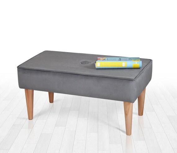 Graue Bank moderne Möbel Schlafzimmer Bank Rechteck Bank abnehmbaren Beinen