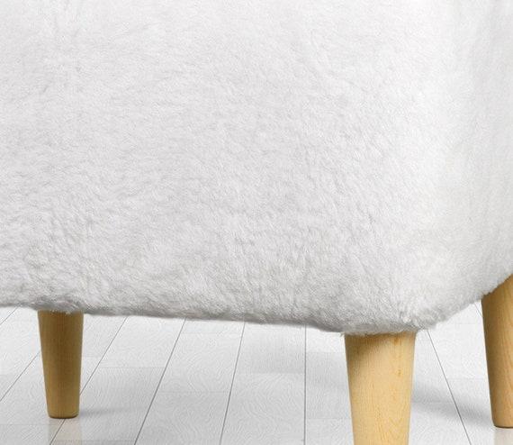 Surprising Faux Fur Pouf Ottoman White Colour Square Pouf Detachable Legs Home Decor Ottoman Pouf Short Links Chair Design For Home Short Linksinfo