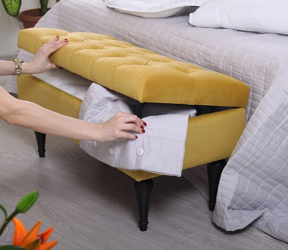 Prime Yellow Color Storage Bench Four Detachable Legs Tufted Design Yellow Bedroom Bench With Storage Gmtry Best Dining Table And Chair Ideas Images Gmtryco