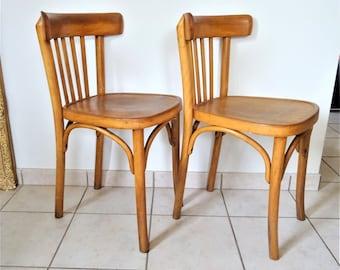 Paire de chaises bistrot Art Déco en hêtre massif 1930-1940