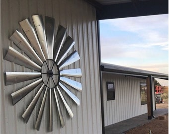 MASSIVE 10 FOOT DIAMETER Windmill-Huge Windmill-Extra Large Wall Decor-Great Room decor-real windmill-industrial-Out Building-Outdoor Art