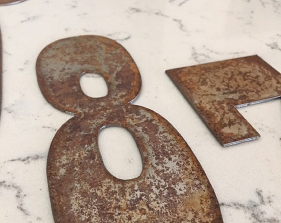 8 Inch Clock numbers-Numbers 1-12-spool-clock-DIY clock-metal numbers-rusty numbers-address numbers-vintage metal- clock numbers-rusty metal