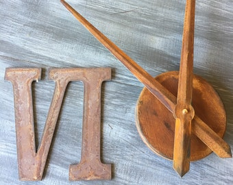 6 Inch Roman Numeral Clock Set-rusty or Natural-Spool Clock-DIY Clock-Rusty Numbers-Roman Numerals-Clock Set-Clock Kit-Clock-Clock Parts