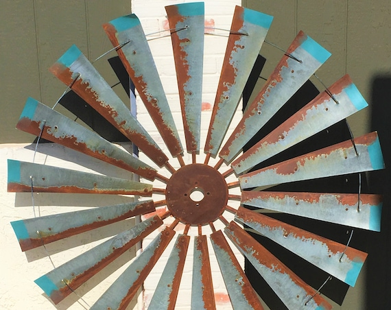 Massive 5 Foot Diameter Windmill with Distressed Blue Tips-Summer Decor-Wall Art-Windmill Wall Art-Vintage Wall Art-Large Decor-Fathers Day