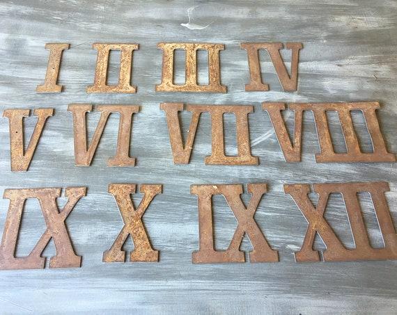 6 Inch Rusty Metal Roman Numerals
