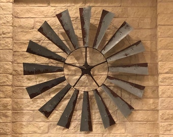 72 Inch Windmill-Massive Art-Metal Wall Art-Large Room Decor-Vintage Decor-Barn Decor-Fall Decor-Great Room-Large Wall Decor-Labor Day Sale
