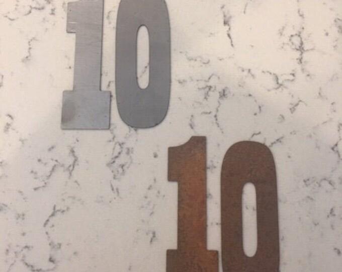 10 Inch Metal Numbers-RUSTY or NATURAL-Crafts-DIY Metal-Address Numbers-Steel-House Numbers-Unpainted metal-Craft supplies-Outdoor Metal