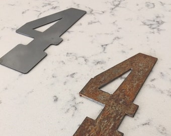 4 Inch Metal Numbers-RUSTY - NATURAL-Crafts-DIY Metal-Address Numbers-Steel-Clock Numbers-Unpainted metal-Craft supplies-Outdoor Metal-Clock