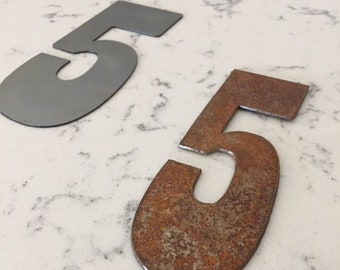 5 Inch Metal Numbers- RUSTY or NATURAL-Crafts-DIY Metal-Address Numbers-Steel-Clock Numbers-Unpainted metal-Craft supplies-Outdoor Metal