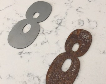 8 Inch Metal Numbers- RUSTY or NATURAL-Crafts-DIY Metal-Address Numbers-Steel-House Numbers-Unpainted metal-Craft supplies-Outdoor Metal