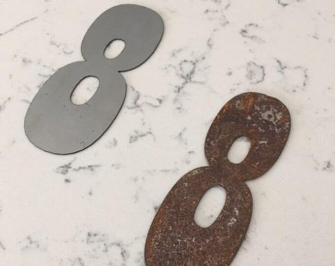 8 Inch Metal Numbers- RUSTY or NATURAL-Crafts-DIY Metal-Address Numbers-Steel-House Numbers-Unpainted metal-Craft supplies-Outdoor Metal