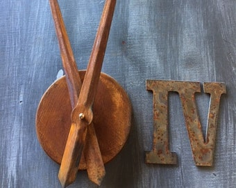 4 Inch Clock Set-Rusty-Roman Numerals-rusty clock set-Spool Clock-DIY Clock-Rustic Numbers-Roman Numerals-Clock set-Clock Kit-Rusty Clock