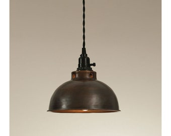 Domed Farmhouse Pendant Lamp-Aged Copper finish-Country Light-Kitchen Light-Island Light-Farmhouse Decor-Edison Light-Edison Bulb-Farm Light
