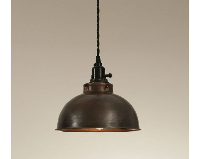 Domed Farmhouse Pendant Lamp-Aged Copper finish-Country Light-Kitchen Light-Island Light-Farmhouse Decor-Edison Light-Edison Bulb-Farm Light