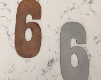 6 Inch Metal Numbers- RUSTY or NATURAL-Crafts-DIY Metal-Address Numbers-Steel-Clock Numbers-Unpainted metal-Craft supplies-Sign-Ornament