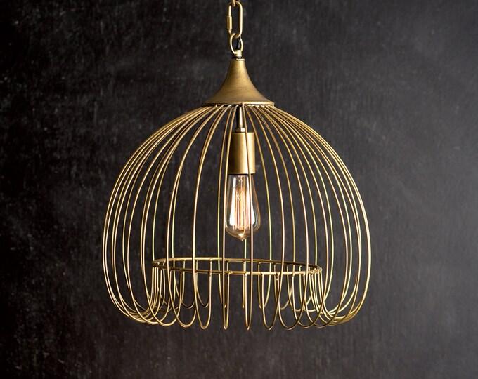Antique Brass Wire Pendant Light
