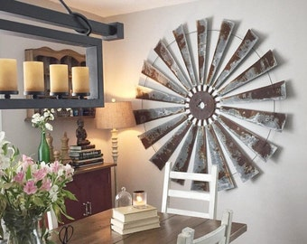 Huge 60 Inch Metal Windmill Wall Art