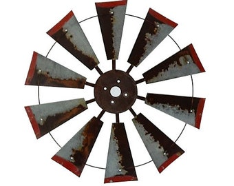 Rusty 30 inch windmill with Red Tips