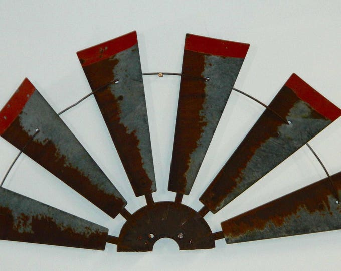 38 Inch Rusty Windmill Half with  Distressed Red Tips