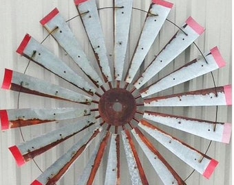 60 Inch Authentic Windmill with Distressed Red Tips