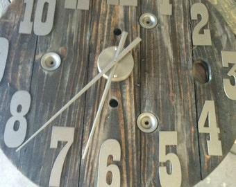 Spool clock 30 inch diameter- with metal numbers- Custom clock-DIY Clock