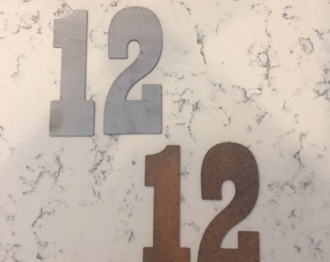 12 Inch Metal Numbers-Address Numbers-Large Numbers-Metal Numbers-Rusty Numbers-Craft Metal-Mail Box-House Numbers-DIY Clock-Natural Steel