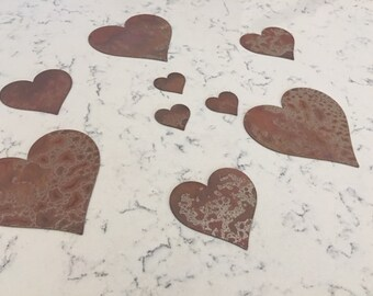 Metal Hearts- Heart Stencil-Rusty or Natural Steel-Craft Supplies-Rusty Heart-Steel Heart-2 Inch Heart-4 Inch Heart-6 Inch Heart