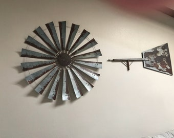 HUGE 60 Inch Diameter Authentic Windmill with Bar and Tail