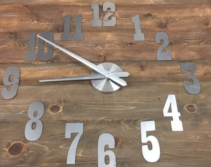 5 Inch Clock Set-Rusty hands-center cap and motor-DIY Clock-Spool Clock-Rustic Metal-Rusty Clock Parts-Metal Numbers-Natural Steel Number