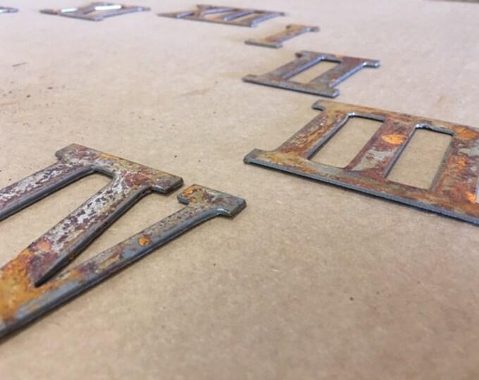 3 Inch Rusty Metal Roman Numeral Clock Numerals 1- 12 -DIY Clock-Spool Clock-Rusty Clock-Roman Numerals-Rustic Clock-DIY-Rusty Metal