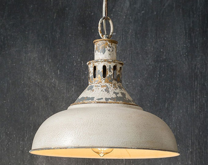 Distressed White Barn Pendant Light-14 Inch Diameter-Farmhouse Pendant-Island Lighting-Country Lighting