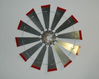 30 inch galvanized finish windmill wall art- metal windmill fixer upper style- gift- metal wall -home decor- windmill blades- fan-industrial