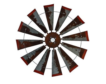 38 Inch Rusty windmill with Distressed Red Tips