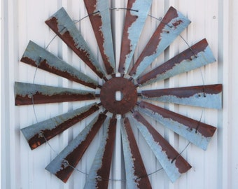 47 Inch Large Rusty windmill Wall Art