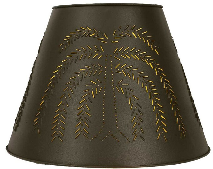9X17X12 Willow Tin Washer Top Lamp Shade - Rustic Brown