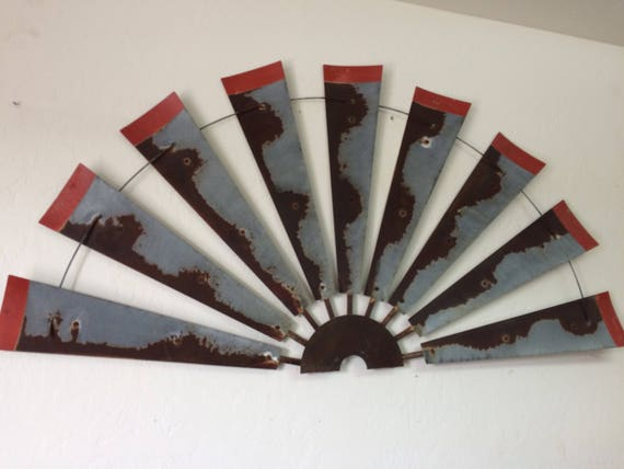 60 Inch Rusty Windmill Half with Distressed Red Tips- Real Windmill-Half Windmill-Distressed metal-Rustic-Gift Idea-Authentic Windmill Decor