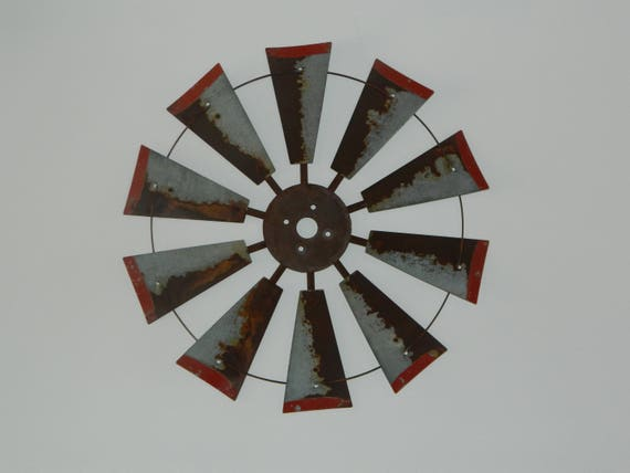 Rusty 30 inch windmill with Red Tips-Authentic Windmill-Rusty Windmill-Windmill Wall Decor-Windmill-Windmill Wall Art-Farmhouse Decor-Rustic
