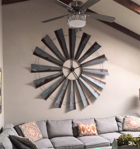 10 Eye Catching Staircase Designs For Unique Home Decor: MASSIVE 96 Inch Windmill Head -Oversize Wall Decor-large