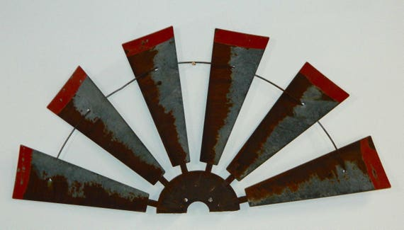 38 inch Rusty Windmill Half with  Distressed Red Tips- home decor- metal fan-Farmhouse Decor-Authentic Windmill-Vintage-Rustic Wall Art