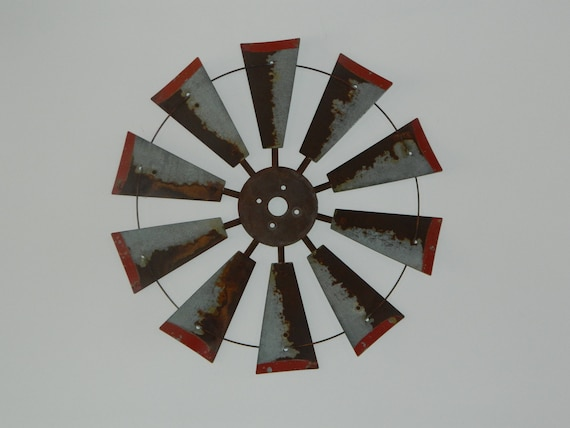 30 Inch Rusty Windmill Distressed Red Tips