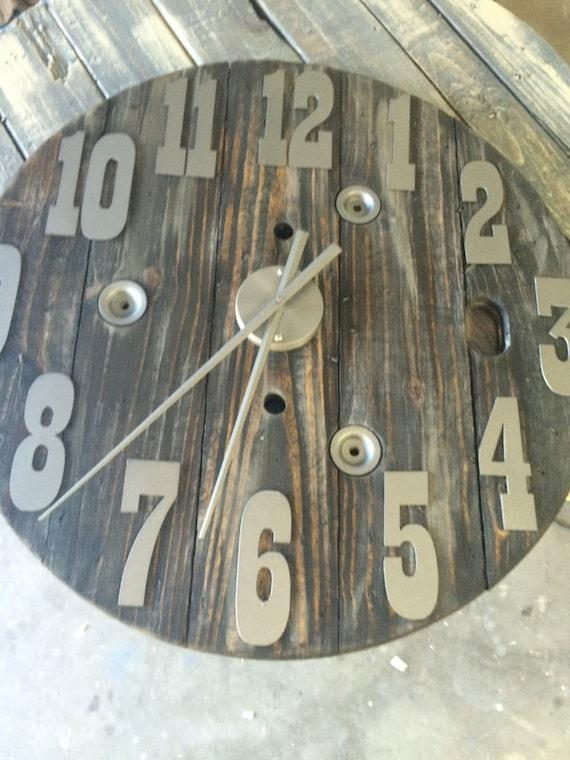 Spool clock 30 inch diameter- with metal numbers- Custom clock-DIY Clock