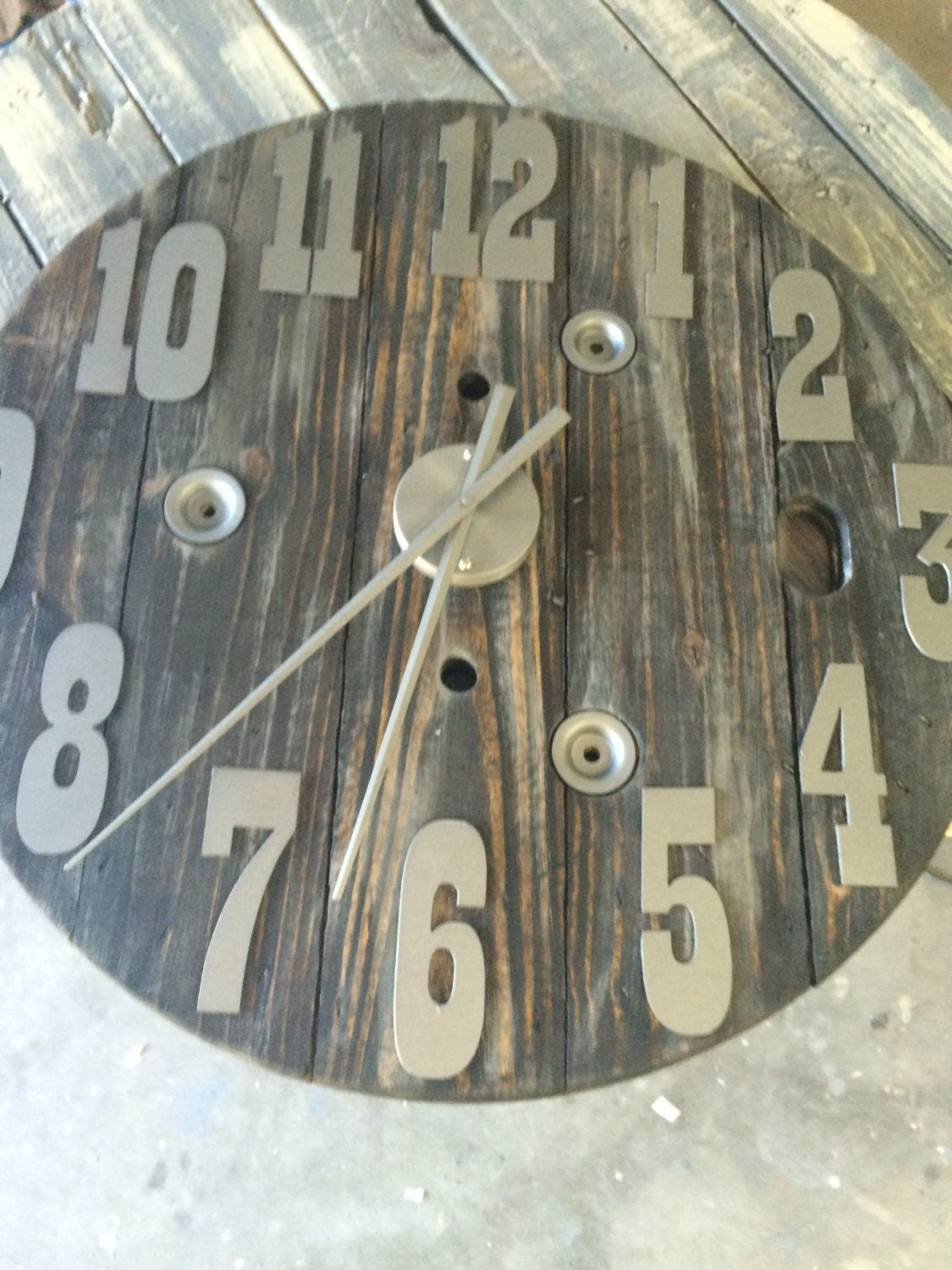 Spool Clock 30 Inch Diameter With Metal Numbers Custom Clock Diy