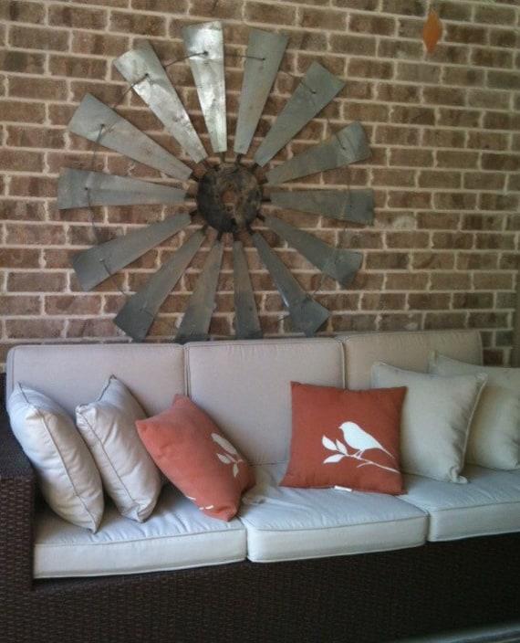 HUGE Windmill wall art - windmill blades- fixer upper -gift-60 in full NO RUST- Galvanized finish- Real Windmill- man cave-Metal Windmill