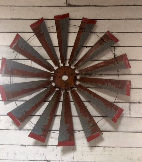 Large Rusty Windmill 47 inch diameter with Distressed  Red Tips